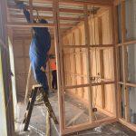 Spray foam insulation is installed.